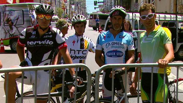 Ciclistas acompanham por conta a Volta Ciclística de SP (Foto: Reprodução/EPTV)