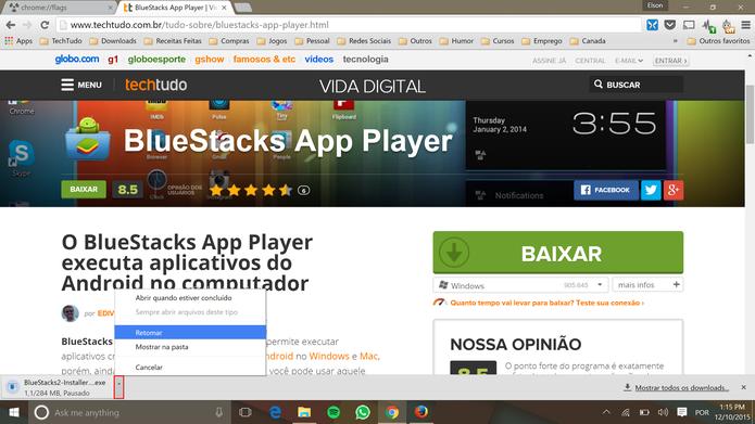 Usuário poderá retomar download do Chrome quando quiser (Foto: Reprodução/Elson de Souza)