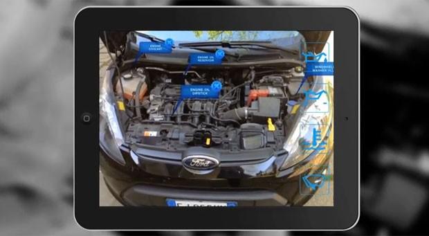 Aplicativo para smartphones e tablets usa realidade aumentada para ajudar a consertar o motor do carro (Foto: Divulgação/Inglobe)