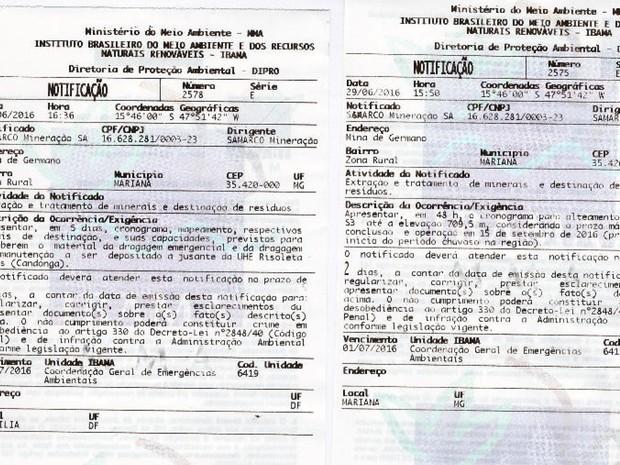 Ibama notifica a Samarco a apresentar prazos e cronogramas para obras após o rompimento da barragem de Mariana (Foto: Reprodução/Ibama)
