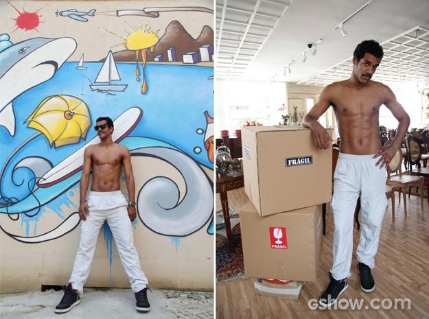 O ator se diverte em ensaio fotográfico para o site de Em Família (Foto: Carol Caminha / TV Globo)