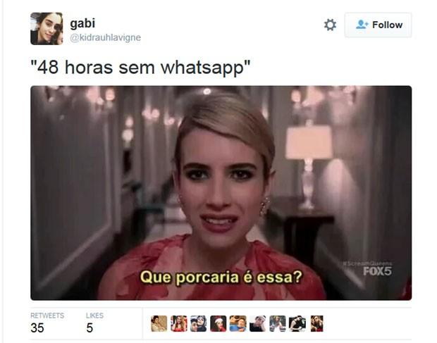 Meme no Twitter usa imagem da atriz Emma Roberts para brincar com saída do ar do WhatsApp (Foto: Reprodução/Twitter/Gabi)