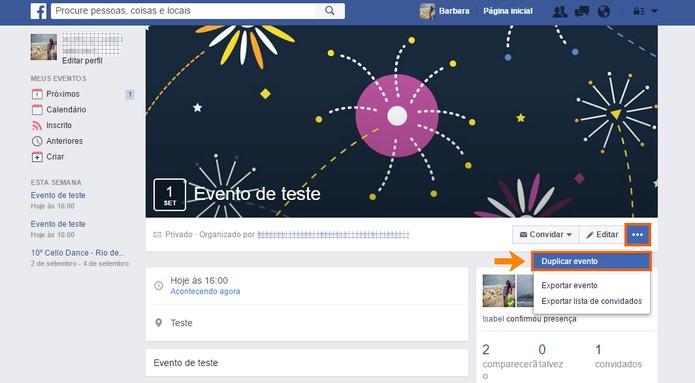Duplique o evento no Facebook e crie um novo com os mesmos convidados (Foto: Reprodução/Barbara Mannara)