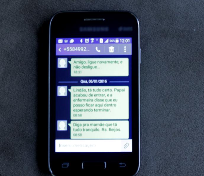 Última mensagem de Alan no celular (Foto: Tv Globo)