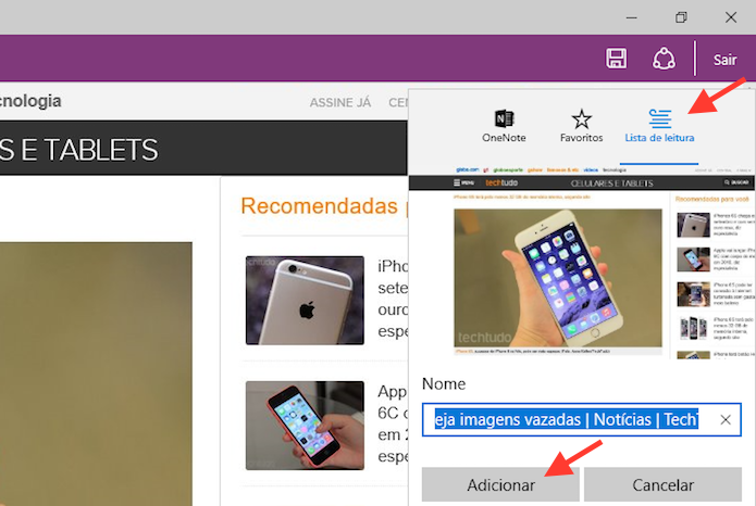 Salvando a página na lista de leitura do Microsoft Edge (Foto: Reprodução/Marvin Costa)
