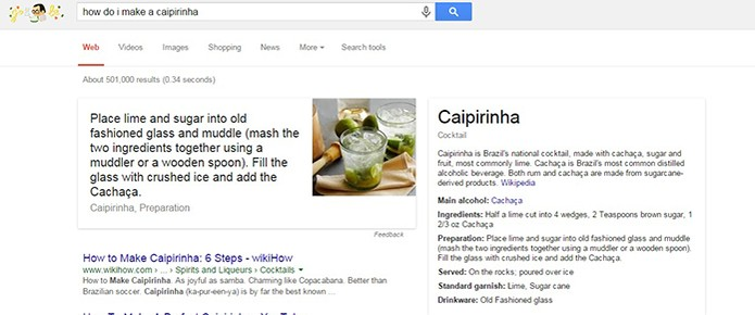 Google mostra receitas de drinks e coquetéis na sua pesquisa (Foto: Reprodução/Barbara Mannara)