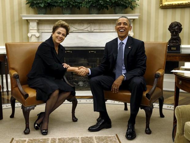 A presidente Dilma Rousseff e o presidente dos EUA, Barack Obama, durante encontro oficial na Casa Branca (Foto: Kevin Lamarque/Reuters)