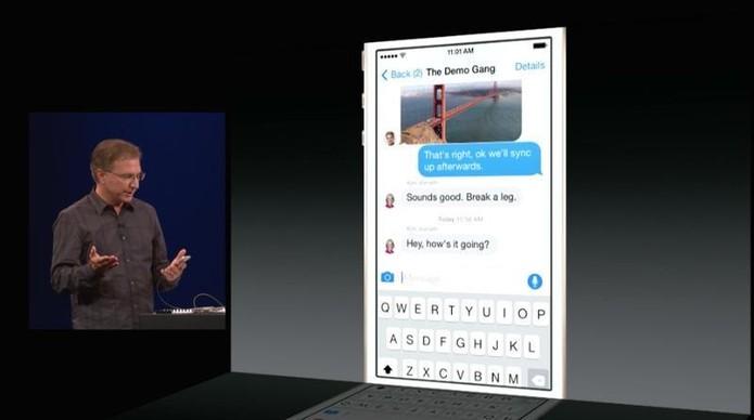 iMessage do iOS 8 trouxe funcionalidades presentes em outros mensageiros famosos (Foto: Divulgação/Apple)