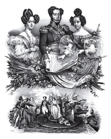 CELEBRIDADES Gravura feita em Paris por volta de 1832. Ela mostra Dom Pedro ao lado da mulher, dona Amélia, e da filha Maria da Glória.  Eles viveram dias de popularidade na França   (Foto: Reprodução)