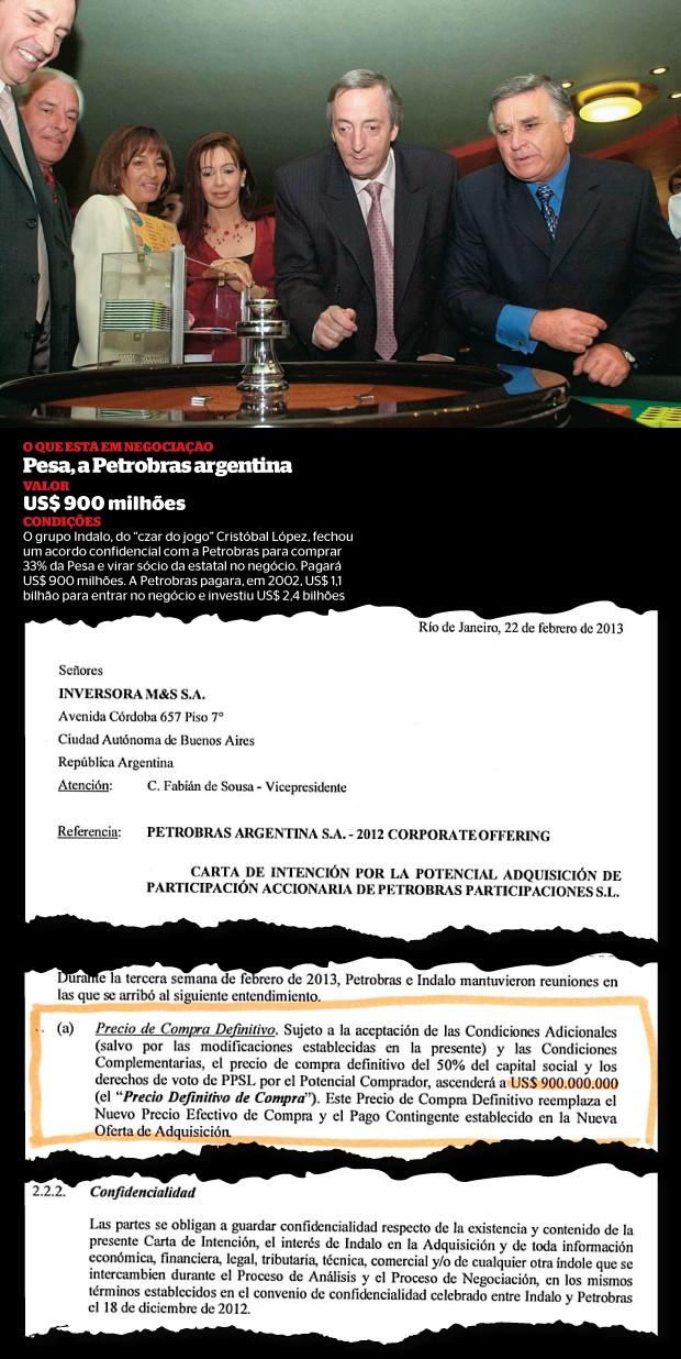 """EMPRESÁRIO """"K"""" Cristóbal López (sorrindo, à esq.), num cassino com os Kirchners (Cristina de vermelho, Néstor de gravata lilás). Amizade com o poder (Foto: Juan Cruz Sanz )"""