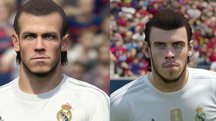 Bale em PES 2016 (esquerda) e Fifa 16 (direita) (Foto: Reprodução/Murilo Molina)