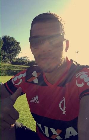 Podolski camisa Flamengo (Foto: Reprodução/Twitter)