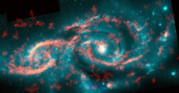 (Foto: M. Kaufman; B. Saxton (NRAO/AUI/NSF); ALMA (ESO/NAOJ/NRAO); NASA/ESA Hubble Space Telescope)