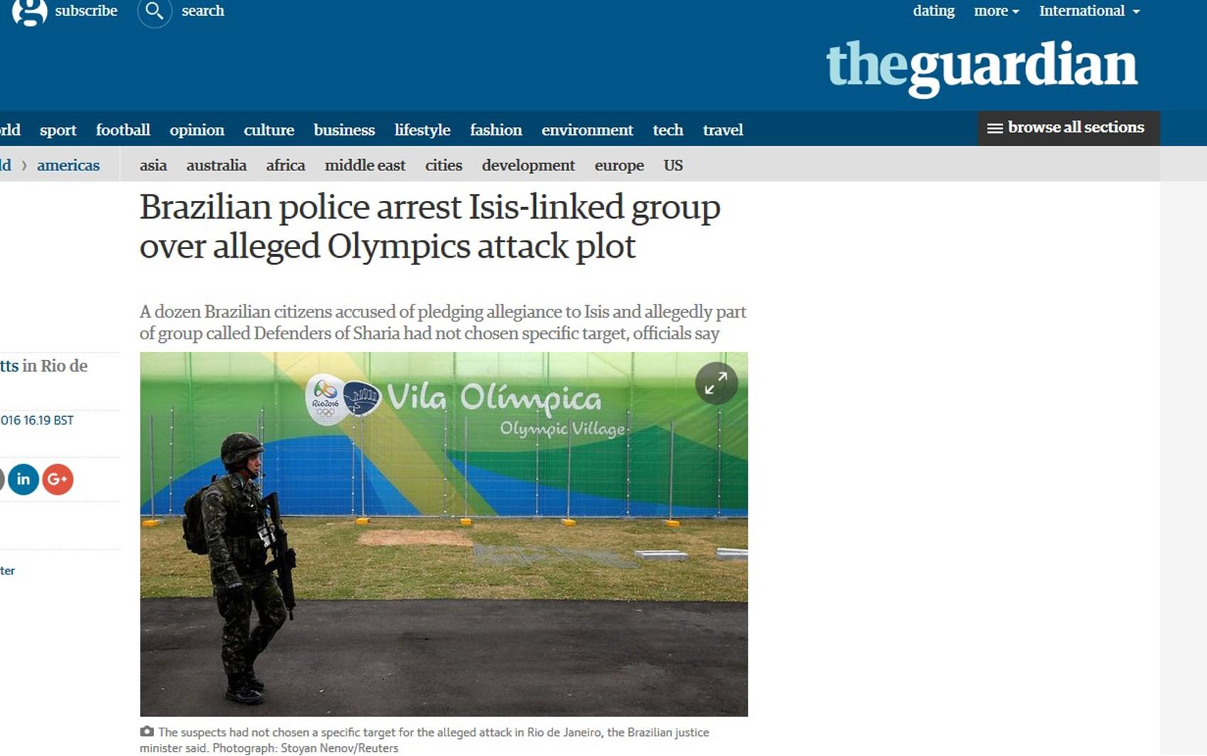 The Guardian repercute prisão de suspeitos de ligação com terrorismo no Brasil
