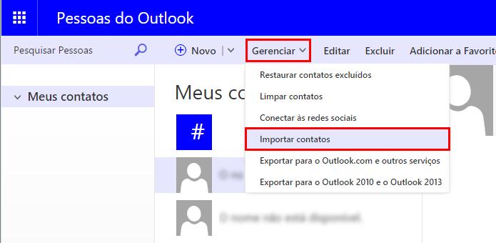 Importe contatos para o Outlook (Foto: Reprodução/Paulo Alves)