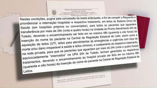 Justiça ordena tratamento em 24 h de quem espera vaga na UPA de Toledo