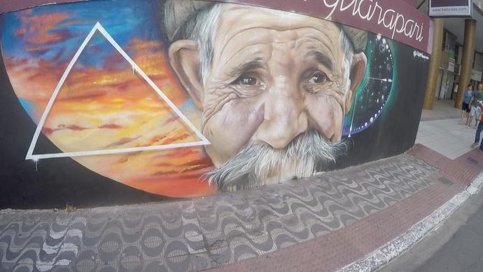 Um dos trabalhos recentes dos grafiteiros é esse muro em Guarapari (Foto: Divulgação / TV Gazeta ES)