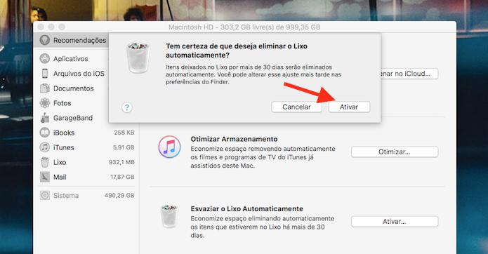 Confirmação da limpeza automática da lixeira do Mac OS (Foto: Reprodução/Marvin Costa)