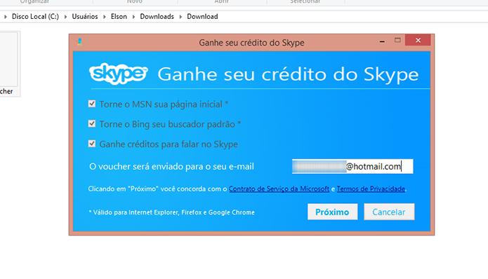 Skype dará créditos para ligações grátis caso o usuário opte por usar o Bing e o site do MSN (Foto: Reprodução/Elson de Souza)