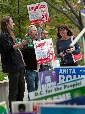 Voluntários pedem votos para legalizar a maconha em Washington DC. (Foto: Allison Shelley / Getty Images / AFP Photo)