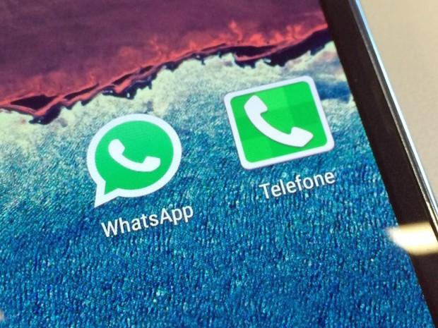 Ícone do aplicativo de conversa Whatsapp em um smartphone (Foto: Fábio Tito/G1)
