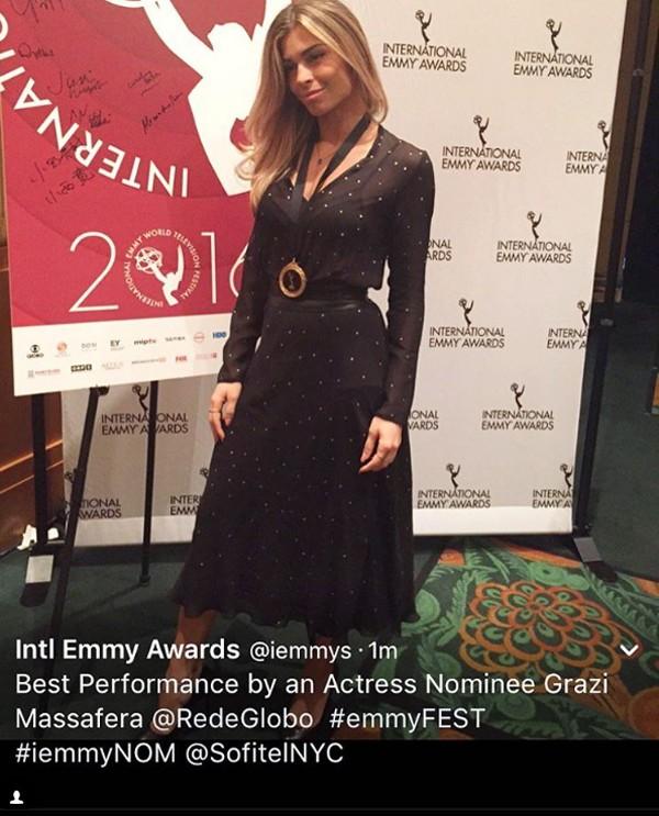 Grazi Massafera no Emmy Internacional (Foto: Reprodução / Instagram)