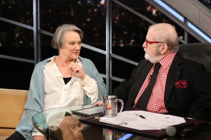 Selma Egrei durante entrevista a Jô Soares (Foto: Carol Caminha/Gshow)