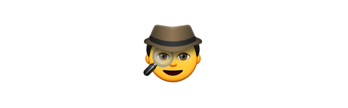Emoji caracteizado de espião mostra estar investigando algo (Foto: Reprodução/emojipedia)
