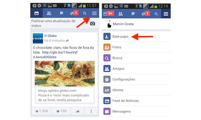 Acessando o bate papo do Facebook pelo Facebook Lite para Android (Foto: Reprodução/Marvin Costa)