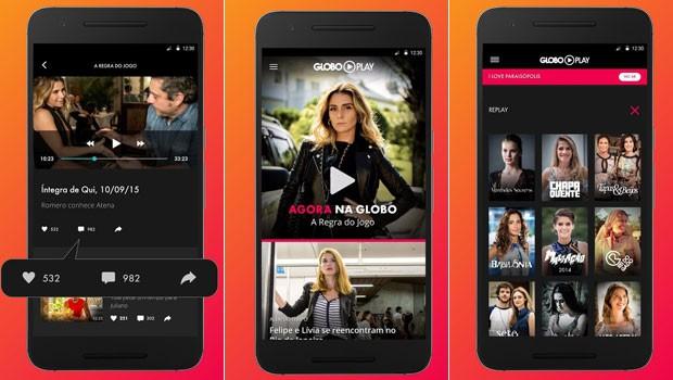 Algumas das opções do cardápio do Globo Play, aplicativo que permite ver a Globo ao vivo (Foto: Globo)