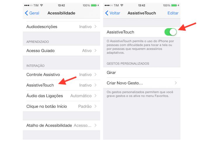Ativando a função AssistiveTouch do iPhone (Foto: Reprodução/Marvin Costa)