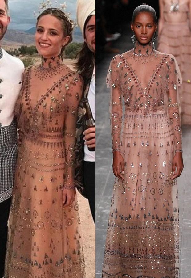 Dianna Agron se casou com vestido nude da Valentino (Foto: Reprodução)