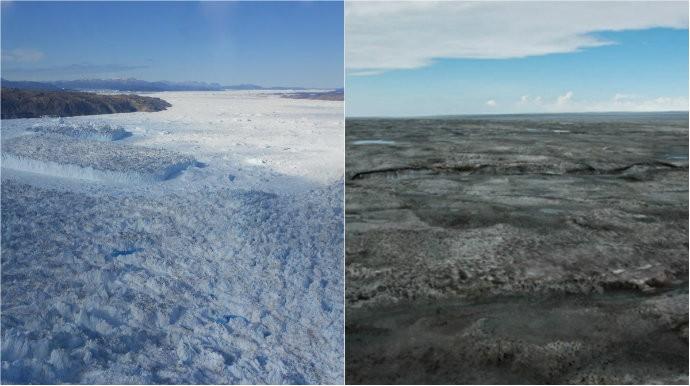 O gelo da Groenlândia está ficando cinza
