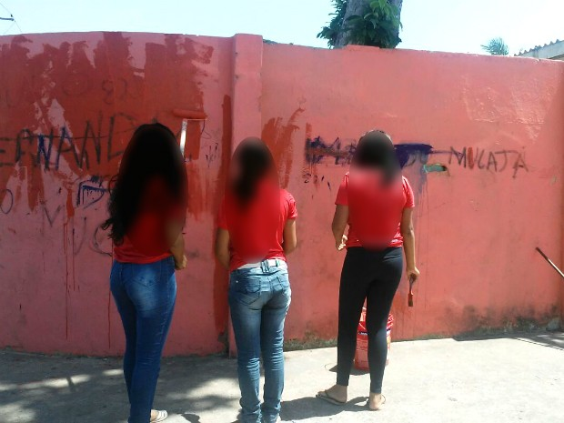 Pichação, escola, alunos, muro, tinta, punição, Amapá (Foto: Marcio Bacellar/Arquivo Pessoal)