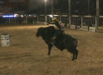O tempo mínimo em cima do touro é oito segundos para classificação no rodeio (Foto: Reprodução/TV Rondônia)