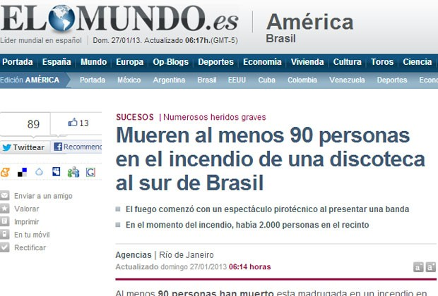 Jornal espanhol 'El Mundo' destacou a tragédia no RS (Foto: Reprodução)