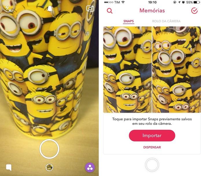 """Acesse a pasta """"Memórias"""" do Snapchat (Foto: Reprodução/Camila Peres)"""