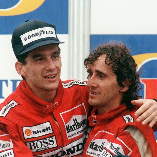 Ayrton Senna e Alain Prost em 1988, quando ambos se tornaram companheiros de equipe na McLaren (Foto: Reprodução)