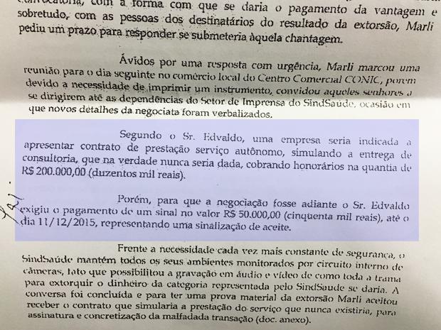 Trecho de denúncia apresentada por Marli Rodrigues ao GDF, em que relata cobrança de pagamento para liberação de verba sindical  (Foto: Reprodução)