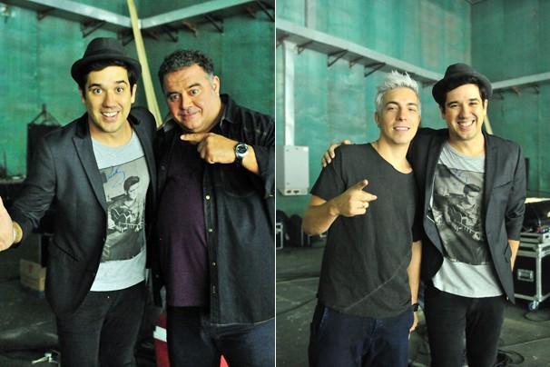 Rogério Flausino, do Jota Quest, com Léo Jayme e com Di Ferrero (Foto: Reinaldo Marques/Rede Globo)