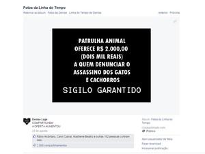 Postagem nas redes sociais anuncia a recompensa para informações em São Lourenço (Foto: Reprodução/ EPTV)