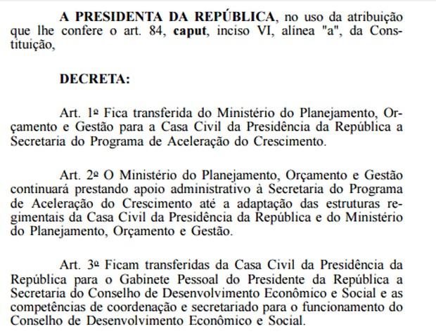 Decreto de Dilma tira PAC do Planejamento e transfere gestão para a Casa Civil (Foto: Reprodução/Diário Oficial da União)