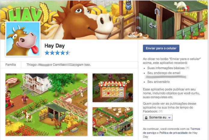 Hay Day: Facebook envia link de download para seu celular (Foto: Reprodução)