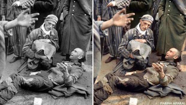 Prisioneiros são libertados do campo de concentração de Wöbbelin, em abril de 1945 (Foto: Arquivo Nacional dos EUA)