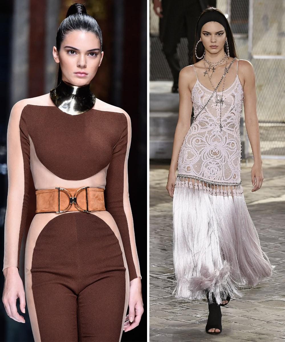 Kendall Jenner nas passarelas francesas: Balmain, verão 2016 e Givenchy, alta costura verão 2015 (Foto: Getty Images)