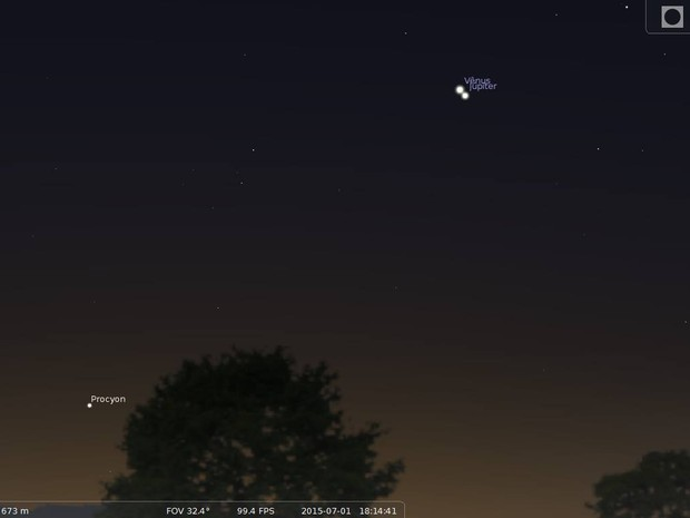 Simulação da conjunção de Júpiter e Vênus (Foto: Julio Lobo)