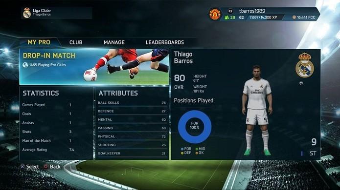 Pro Club é um modo carreira online (Foto: Thiago Barros/TechTudo)