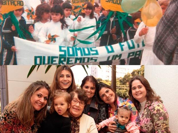 Manuela ainda criança na escola (acima) e com a mãe, as irmãs e as sobrinhas (Foto: Arquivo Pessoal)
