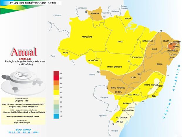 Atlas Solarimétrico do Brasil mostra que a Paraíba está em uma área com muita radiação solar  (Foto: Reprodução/Atlas Solarimétrico do Brasil)