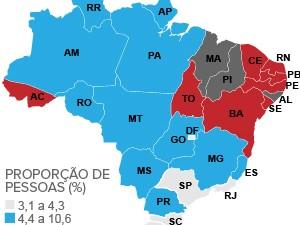 mapa analfabetismo pnad (Foto: Editoria de Arte/G1)